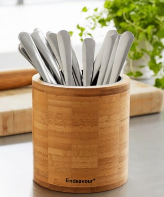 Køkkenudstyr og bestikholder i bambus fra Endeavour, få den på I Love Eco Home